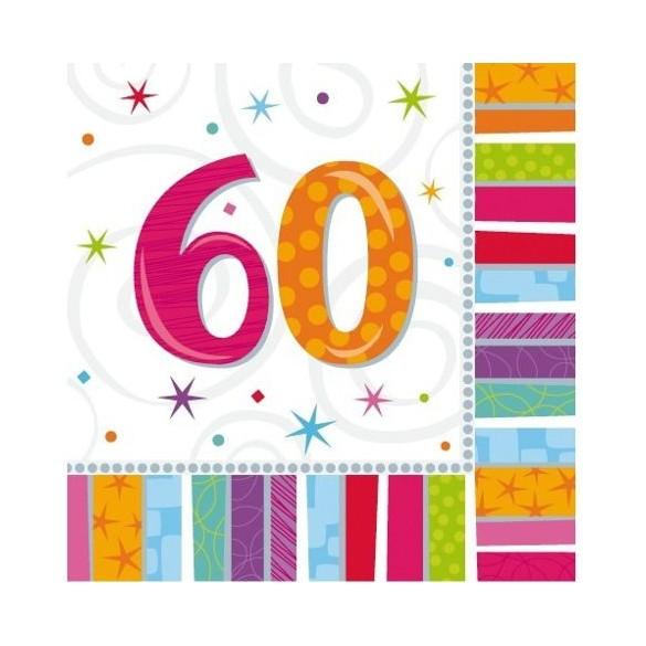 16 Serviettes age 60ans