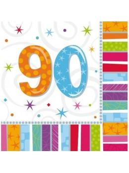 16 Serviettes age 90ans