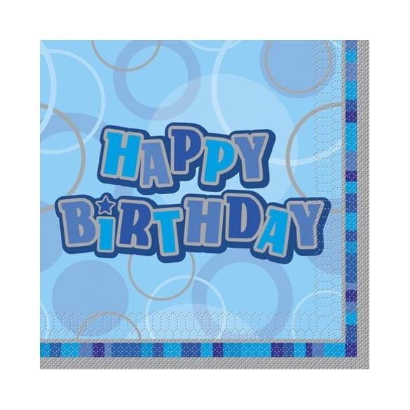 16 serviettes lunch happy birthday bleu