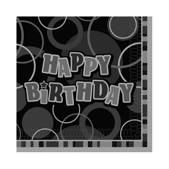 16 Serviettes lunch happy birthday noir