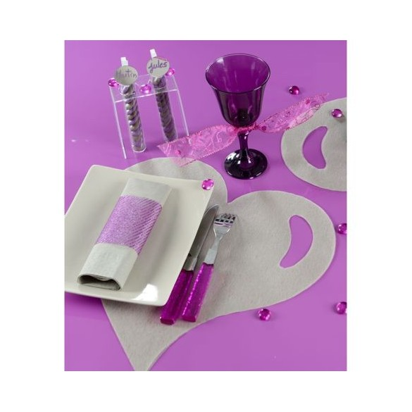 50 Sets de table coeur gris