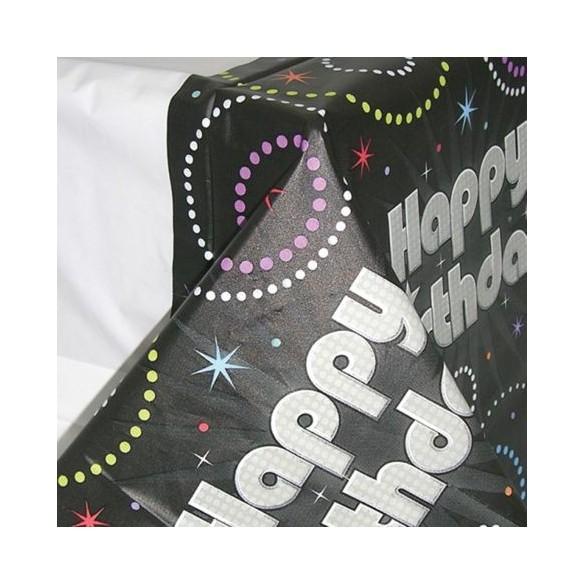 Nappe pliée Happy Birthday noire