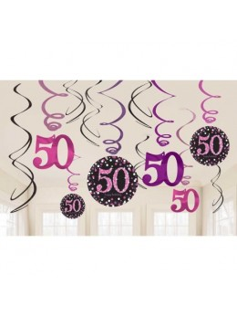 12 Suspensions glitter 50 ans