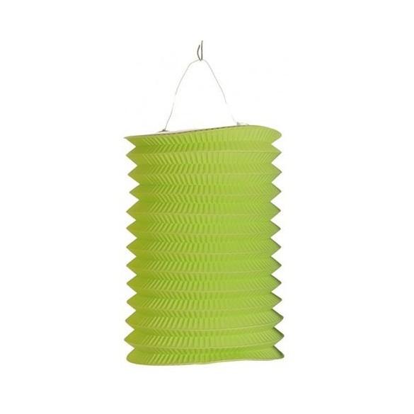 12 lampions cylindriques vert tilleul 13cm