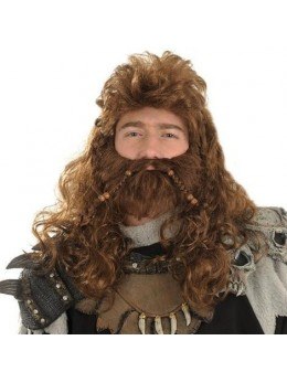 Perruque+barbe Viking perles