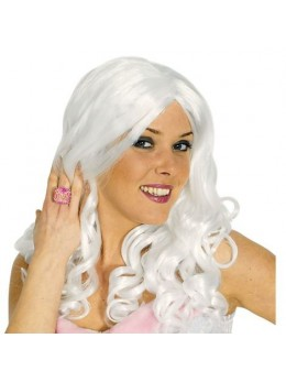 Perruque femme ondulée blanche