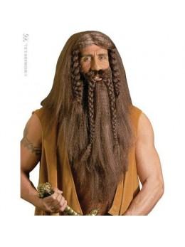 Perruque barbare avec barbe et moustaches