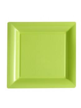 12 Assiettes carrées plastiques vert lime