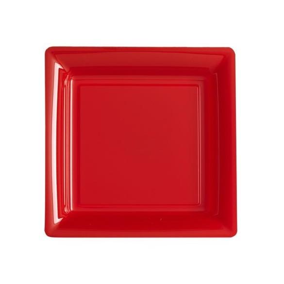 12 Assiettes carrées plastiques rouge