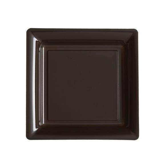 12 Assiettes carrées plastiques chocolat