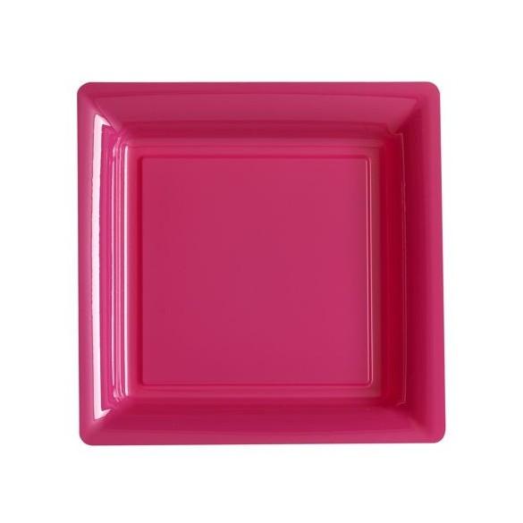 12 Assiettes carrées plastiques fuschia