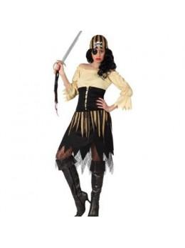 Déguisement femme pirate marron et blanche