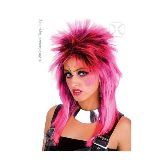 Perruque punk rose