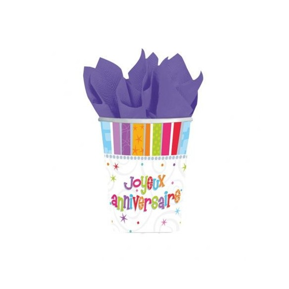 8 gobelets Joyeux anniversaires blanc