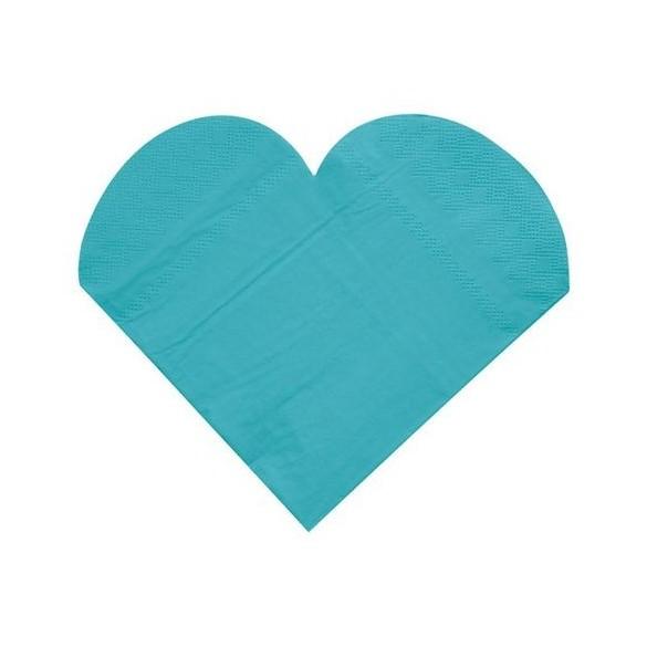 20 Serviettes coeur turquoise