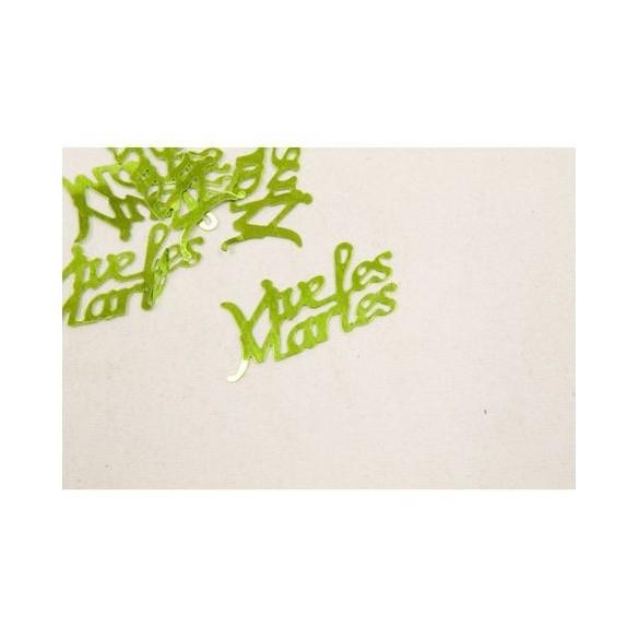 Confetti Vive les mariés vert anis