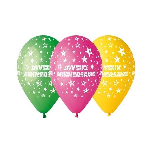 10 Ballons anniversaires 30cm