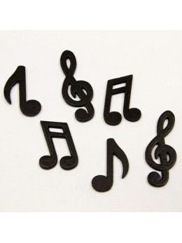 24 confetti de table bois notes musique noires