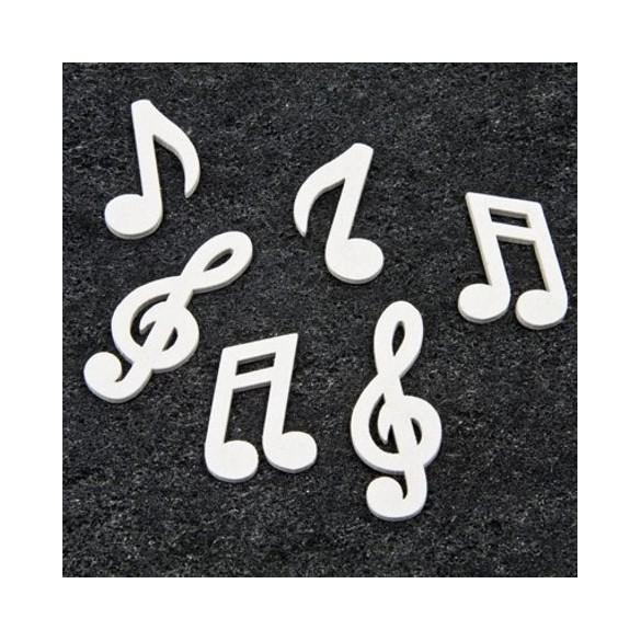 24 confetti de table bois notes musique blanches