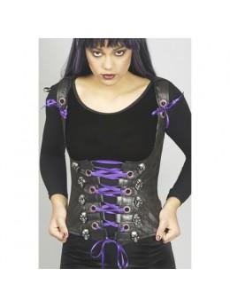 Déguisement corset noir têtes de mort