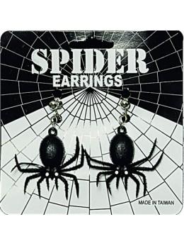 Boucles d'oreilles araignées noir