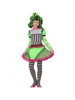 Pack déguisement Fille Monstre vert + perruque