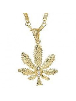 Collier Feuille Cannabis or