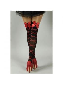 Bas élastique noir avec noeud rouge
