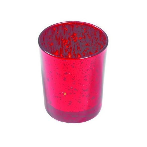 Bougeoir cylindrique paillettes rouge
