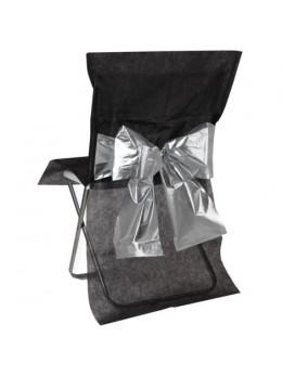 4 Housses de chaises noires et argent