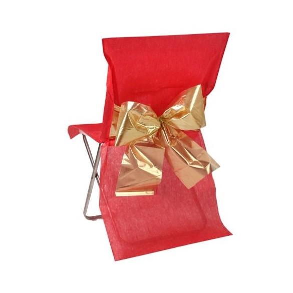 4 Housses de chaises rouges et or