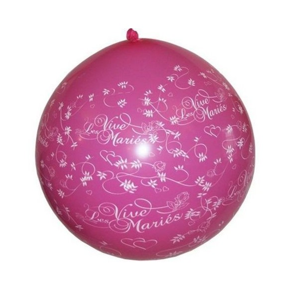 Ballon géant 1m Vive les mariés fuchsia