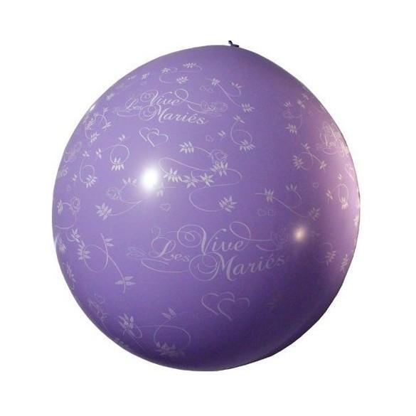 Ballon géant 1m Vive les mariés lilas