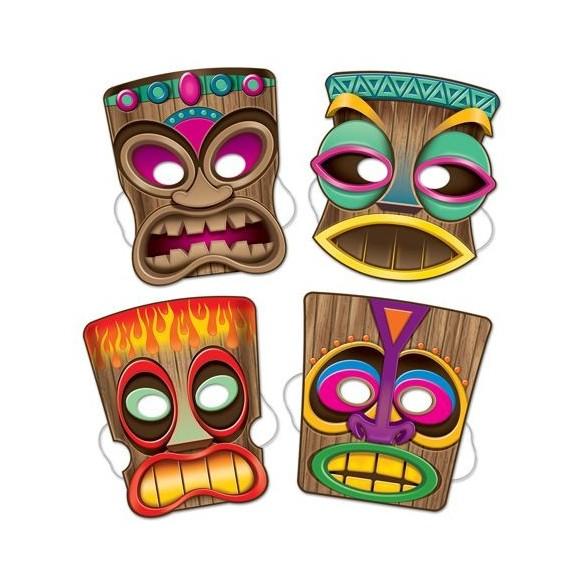 4 Masques carton Tiki