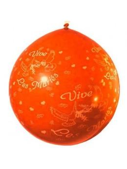 Ballon géant 1m Vive les mariés orange