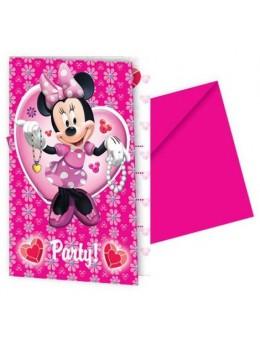 6 Invitations avec enveloppe Minnie