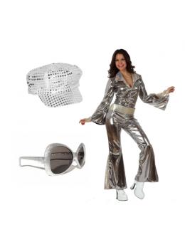 Pack déguisement disco femme argent