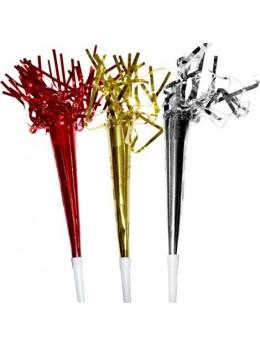 6 Trompettes sifflet métallisées