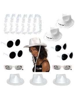 Pack 18 accessoires soirée blanche
