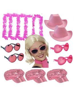 Pack 15 accessoires soirée rose