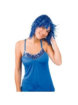 Perruque métallique bleue