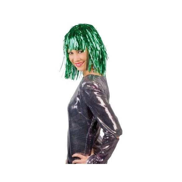 Perruque métallique verte