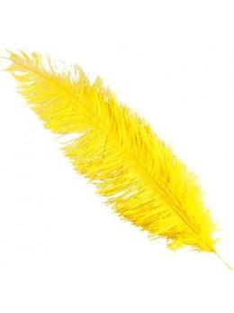 Plume d'autruche deluxe jaune 65cm