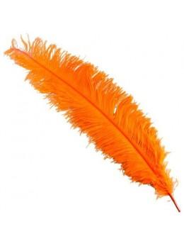Plume d'autruche deluxe orange 65cm