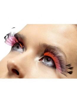 Faux-cils rose et noir avec plumes