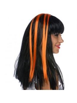 Paire de Mèches extension cheveux sur clip fluo orange