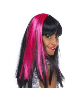 Paire de Mèches extension cheveux sur clip fluo rose