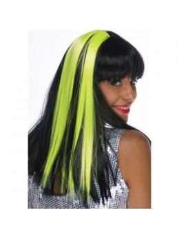 Paire de Mèches extension cheveux sur clip fluo vert