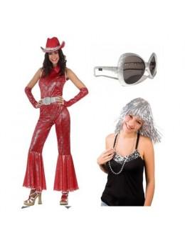 Pack déguisement femme disco rouge