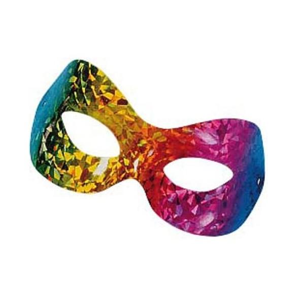Masque multicolore hologramme pour adulte pas cher carnaval - Masque loup a imprimer ...